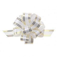"""Бант-шар """"Золотые полосы"""", 3 см, белый, диаметр 10 см"""