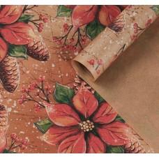 "Бумага упаковочная крафт ""Рождественский цветок"", 70х100 см"