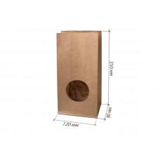 Крафт пакет бумажный с окном бурый 120х250х80мм