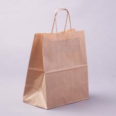 Крафт пакет бумажный бурый с крученными ручками 240*280*140мм