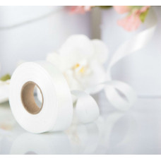 Лента атласная для декора и подарков, 20 мм х 1 м, цвет белый