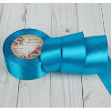 Лента атласная для декора и подарков, 40 мм х 1 м, цвет морская волна