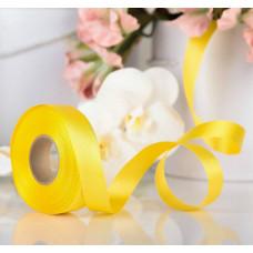 Лента атласная для декора и подарков, 20 мм х 1 м, цвет жёлтый