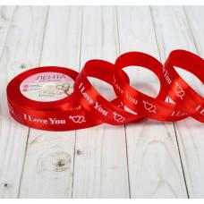 """Лента атласная для декора и подарков """"I Love You"""", 20 мм х 1 м, цвет красный"""
