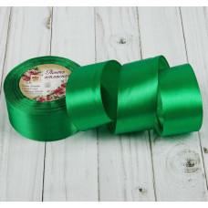 Лента атласная для декора и подарков, 40 мм х 1 м, цвет зелёный