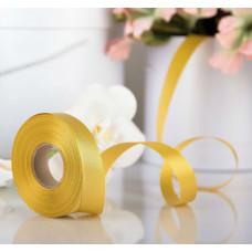 Лента атласная для декора и подарков, 20 мм х 1 м, цвет золотой