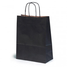 Крафт пакет бумажный черный с крученным ручками 260х350х150мм