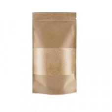 Крафт пакет бумажный дой-пак с окном бурый 135х225х70мм