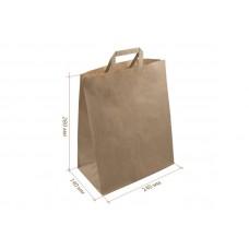 Крафт пакет бумажный бурый с плоскими ручками 240+140*280мм