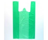 Пакет майка 24+11*38см. 8мкм, зеленая полупрозрачная